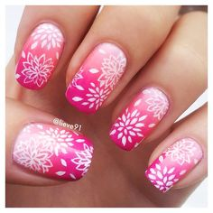 White to pink gradient, white stamping, flowers, Beautiful Nail Designs, Cute Nail Designs, Hot Nails, Hair And Nails, Lynn Nails, Nail Art Brushes, Crazy Nails, Flower Nail Art, Healthy Nails
