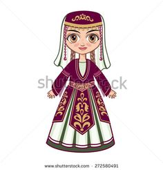 doll in the Armenian suit - stock vector