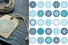 Snowflakes ornaments clipart, Snowflake design clip art set, Christmas clipart, Blue round scalloped circles By Pravokrugulnik