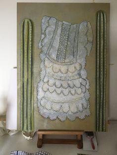 "After a painting called ""La Naissance d'un Secrete"" by Belgian surrealist Rachel Baes - a painting of her dress caught on cacti. Acrylic on board, 82 cm x 59 cm"