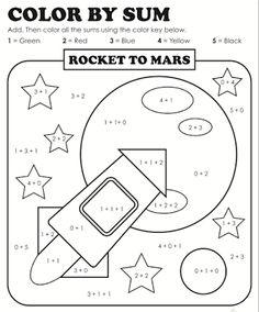 Color by Shape Rocket in Space Kindergarten shapes
