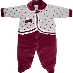 Macacão Recém Nascido e Bebê Menina Plush + Poá Vinho - Sonho Mágico :: 764 Kids | Roupa bebê e infantil