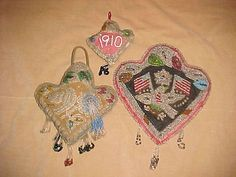 3-BEADED-IROQUOIS-MOHAWK-INDIAN-BEADED-HEART-WHIMSEYS-C1910-EAGLE-FLAGS