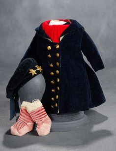 """""""What Finespun Threads"""" - Antique Doll Costumes, 1840-1925 - March 12, 2017: 265 Boy's Blue Velvet Suit with Great Coat and Cap"""
