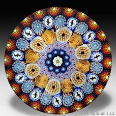 Mike Hunter 2012 close concentric millefiori with seagull canes paperweight