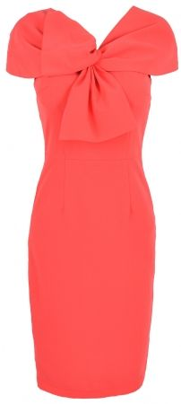 Coral Dress. Love the twist front.