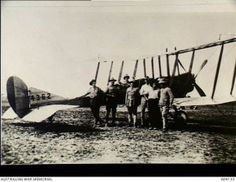 Members of the Mesopotamian Half Flight with a Royal Aircraft Factory BE2c aircraft used by the Australian Flying Corps to supply the Army garrison at Kut-al-Amara, 1916. Image courtesy Australian War Memorial.