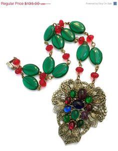 Art Deco Czech Glass Pendant Necklace by Vintageimagine on Etsy