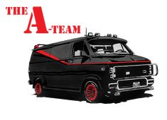 This is an image I made to be used as a T-Shirt iron-on transfer (or whatever other method you may use to make t-shirts for yourself). The image of the . A-Team Van t-shirt transfer Chevrolet Van, Chevy Van, The Ateam, A Team Van, Cool Car Drawings, 80 Tv Shows, Vans T Shirt, Cool Vans, T Shirt Transfers