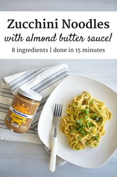 Whip up a umami-packed almond butter sauce that you'll toss with filling zucchini noodles - perfect for a hearty, nutritious snack. You can also use this sauce for your favorite protein items, like on chicken or turkey kabobs. Real Food Recipes, Vegetarian Recipes, Cooking Recipes, Healthy Recipes, Disney Recipes, Disney Food, Keto Recipes, Zoodle Recipes, Spiralizer Recipes