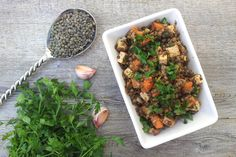 warm lentil salad with smoked tofu [vegan].