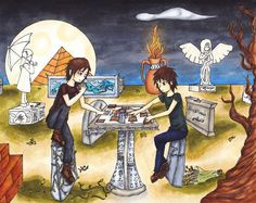 Nico Di Angelo (son of Hades) and Anubis (god of death) playing Mytho magic :D (some PJO & KC crossover <3 )