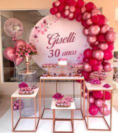 Ballon Backdrop, Graduation Flowers, 50th Birthday Decorations, Backyard Birthday, Braided Hairstyles For Wedding, Happy B Day, Pink Parties, 15th Birthday, Balloons