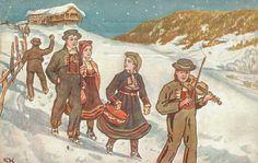 Knudsen, Sverrer. Brudefølge Utg Mittet. Stemplet 1911