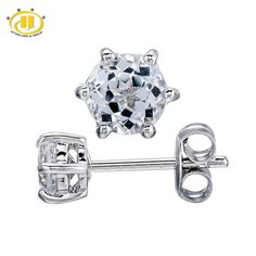 Hutang 1.2Ct  White Topaz Round 5mm Stud Earrings in 925 Sterling Silver Wedding Fine Jewelry Six Prong Set Free Shipping
