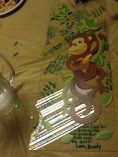 I Manage & U Party!!! Events!! By F.E.M.  Filion's Event Management filionsmgmt@gmail.com Simply a piece of plexi glass from HD, a monkey decal from the DTree and signatures n you have a great Door Decor for the baby's room!! All custom made.