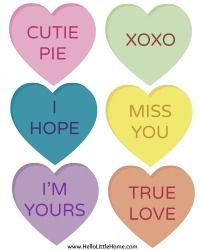 Free printable conversation hearts - page 2. These make a nice banner, gift tag or card for Valentine's Day, a wedding or anniversary. With banner tutorial. From Hello Little Home.
