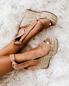 espadrille stacked wedges with open peep toe and suede ankle ties