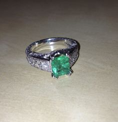 Natural Colombian Emerald and Diamond 14K White Gold Ring