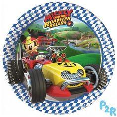Pratos descartáveis 20 cm do tema Mickey Racers