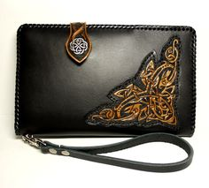 Handmade leather travel wallet, men's leather wallet, Celtic wallet, mens wallet with hand-tooled Celtic pattern, hand-carved wallet by PFLeatherGlass on Etsy https://www.etsy.com/listing/254686636/handmade-leather-travel-wallet-mens