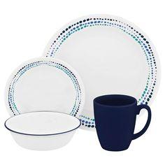 Corelle® Dinnerware Set 16pc Livingware Ocean Blue : Target
