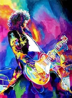 Jimmy Page - I love this...it looks so much like a print I have of Steven Tyler...I love watercolors......
