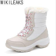 Wikileaks Mujeres Nieve Botas Cálidas Botas de Invierno de Plataforma de Fondo Grueso Botas Impermeables Del Tobillo Mujeres de Piel Gruesa de Algodón, Además de Zapatos de Tamaño