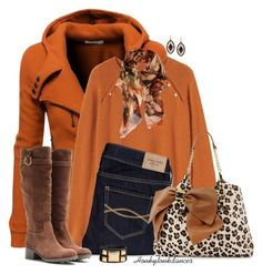 """""""Orange You Loving Fall"""" by honkytonkdancer ❤ liked on Polyvore featuring Doublju, Toast, Contileoni, Abercrombie & Fitch, Betsey Johnson, Salvatore Ferragamo and H&M"""