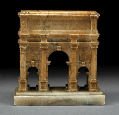 """A Grand Tour Marble Model of the Arch of Septimius Severus, 19th c., labeled on base """"Arco di Constantino"""