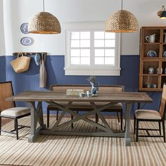 Dining Room Paint Colors, Room Wall Colors, Dining Room Walls, Dark Blue Dining Room, Trestle Dining Tables, Dinning Table, Dining Chair, Dark Table, Shades