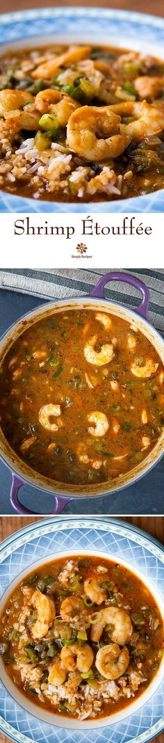 Shrimp Etouffee ~ Shrimp etouffee, a classic Louisiana stew of shrimp or crawfish served over rice. Minus the flour Creole Recipes, Cajun Recipes, Fish Recipes, Seafood Recipes, Cooking Recipes, Haitian Recipes, Donut Recipes, Seafood Soup, Etouffee Recipe