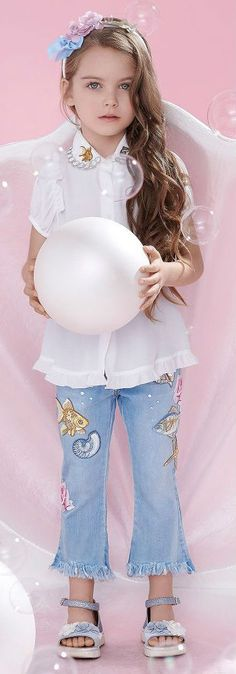fa97460bd433 MONNALISA BIMBA Girls Sea Theme Embroidered White Shirt  amp  Skinny Fit  Jeans for Spring Summer