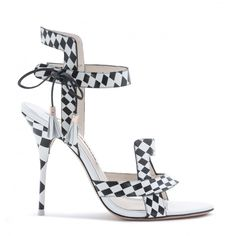 Bold monochrome optic print sandal finished with a subtle open-toe and embellished with tassels. Sophia Webster, Me Too Shoes, Open Toe, Poppies, High Heels, Footwear, Style Inspiration, Sandals, How To Wear