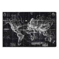 Hatcher & Ethan Chart Of The World Map 1863 Canvas Art - HE12432_36X24_CANV_XHD_HE