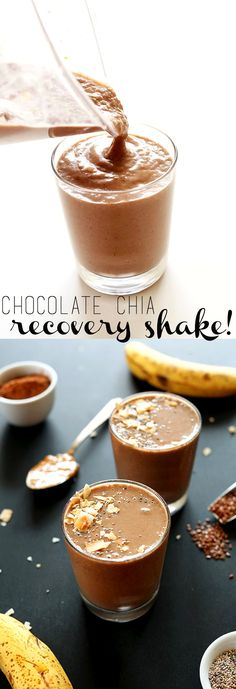 Chocolate Chia Recovery Shake - 7 ingredient AMAZINGLY creamy and healthy recovery drink - Perfect for post-workout rehydration with loads of protein, healthy fats and just the right amount of sweetness - Smoothies Vegan, Best Smoothie Recipes, Chocolate Protein Shakes, Healthy Chocolate, Superfood, Protein Shake Ingredients, Post Workout Food, Post Workout Protein Shakes, Post Workout Shake