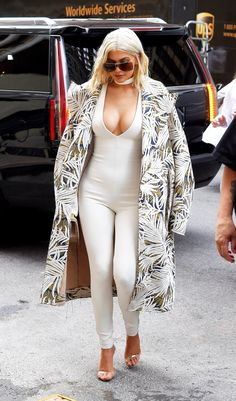 Kylie Jenner Street Style: A White Catsuit With a Printed Coat. // How to Get This Look: http://www.teenvogue.com/story/kylie-jenner-white-catsuit-printed-coat-matches-hair