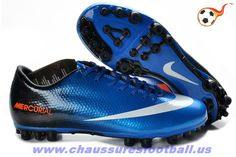 wholesale dealer b6a2e 9f92a Nike Mercurial Victory IV AG Bleu Noir Blanc FT4685