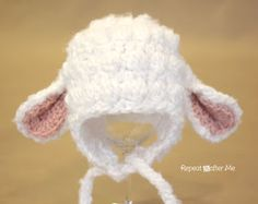 Crochet Lamb Hat Pattern (Newborn - Adult Sizes)