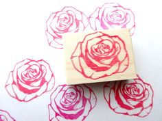 Rose stamp, Flower wedding, Rubber stamp, DIY wedding, Red flower, Japanese stationery, Gift wrapping, Gift idea, Save the date, Craft stamp