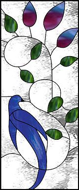stained glass window - blue bird & vines This would also be beautiful as an appliqué quilt.