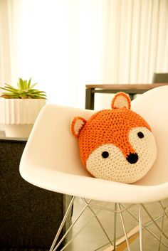 One of our FAVORITE latest creations is Linus our adorable fox pillow. 13 round and comes in a wonderful pumpkin orange and off-white. Makes