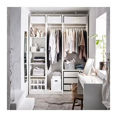 Discover the IKEA PAX wardrobe series. Design your own PAX wardrobe inside and out, from door styles, to shelves, to interior organizers and more. Ikea Pax Wardrobe, Ikea Closet, Diy Wardrobe, Walk In Wardrobe, Closet Bedroom, Walk In Closet, Bedroom Storage, White Wardrobe, Closet Space