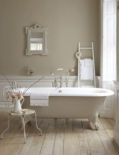 Main wall: Little Greene Rolling Fog - Dark 160 Bath: Little Greene Rolling Fog 143 Panelling: Little Greene Rolling Fog - Pale 158