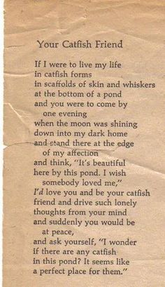 Your Catfish Friend - Richard Brautigan ... ❤ :))
