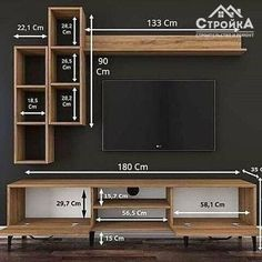 Make woodworking projects with step by step plans! ⚒ - Over Woodworking Plans - With CAD/DWG software to view/edit plans - Step-by-… Tv Unit Interior Design, Tv Unit Furniture Design, Furniture Plans, Wood Furniture, Tv Unit Decor, Tv Wall Decor, Tv Cabinet Design, Tv Wall Design, Tv Wanddekor