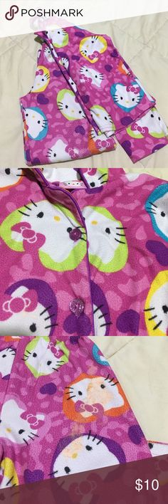 Girl's Pajamas Disney Princess 👸🏻 Hello Kitty 😺 All in Good condition.  On hello kitty part, there's light stain. its on the top back part of pant. It's paint. I washed them but it didn't come off. You can hardly tell though. Look at 3rd pic. Pajamas are super cute. Disney Princess Frozen & Rapunzel are only the tops, no pants. Disney Pajamas Pajama Sets