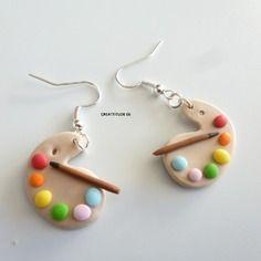 Boucle d'oreille palette de peinture multicolore en fimo et pinceau