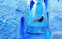 Colour therapy in Morroco's Blue City. Chefchaouen always feels a little surreal to me; like I'm walking around in someone's dream.