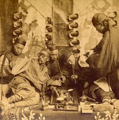 Opium smokers in a opium den, Shanghai China,1901, B.W. Kilburn stereograph
